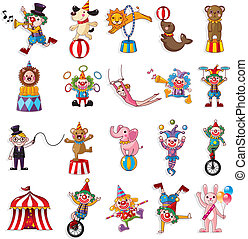 iconerne, forevise, glade, cirkus, samling, cartoon
