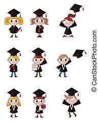 iconerne, graduere, sæt, studerende, cartoon