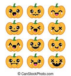 iconerne, halloween, cute, pumpkin, kawaii