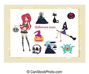 iconerne, halloween, sæt, vektor