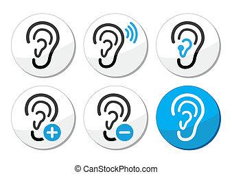 iconerne, hjælpemiddel, døve, problem, øre, afhøring