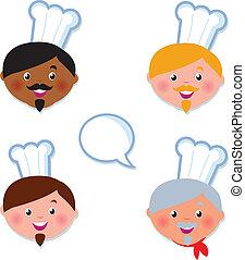 iconerne, hud, anføreren, køkkenchef, kokke, internationale, lys, mørke
