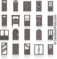 iconerne, indgang, isoleret, døre, sæt, forside