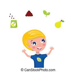 iconerne, jugglery, elementer, gartner, frugt, -, cute, grønne, og, plante