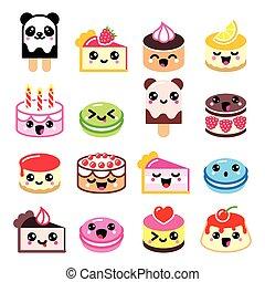 iconerne, kage, cute, -, dessert, kawaii