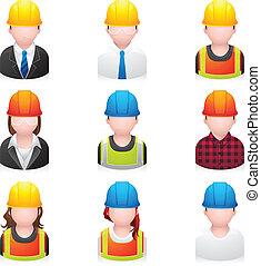 iconerne, konstruktion, folk, -