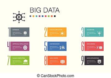iconerne, kunstige, database, opførsel, beklæde, data, concept., valgmulighed, infographic, enkel, centrum, stor, bruger, intelligens, 10