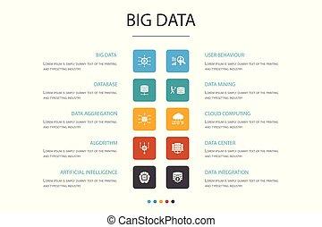iconerne, kunstige, database, opførsel, data, concept., valgmulighed, infographic, centrum, stor, bruger, intelligens, 10