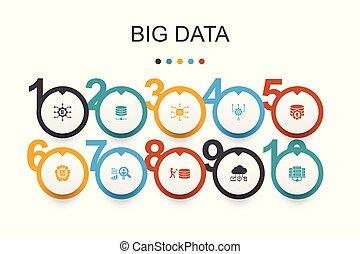 iconerne, kunstige, database, opførsel, data, template., infographic, konstruktion, centrum, stor, bruger, intelligens