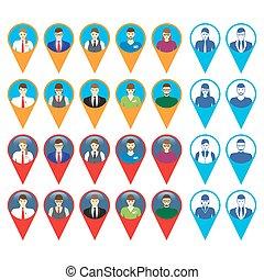 iconerne, mandlig, ansigter, kvindelig
