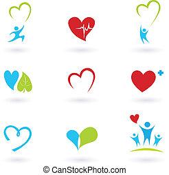 iconerne, medicinsk, hvid, sundhed