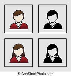 iconerne, -, medlem, vektor, avatar, kvindelig, bruger, mandlig