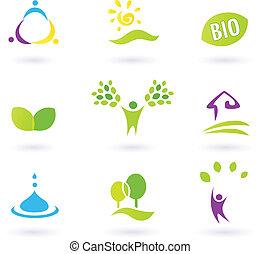 iconerne, nature., liv, folk, agerjord, vektor, gudbenådet, illustration., biografi.