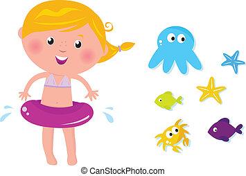 iconerne, pige, dyr, cute, havet, svømmer