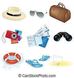 iconerne, rejse, ferie, vektor
