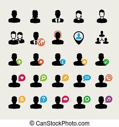 iconerne, sæt, bruger