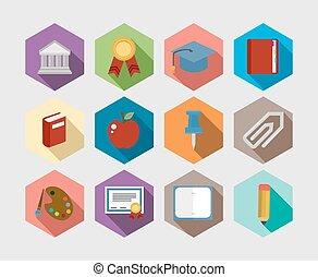 iconerne, sæt formgiv, tilbage, lejlighed, skole