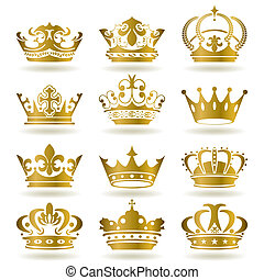 iconerne, sæt, guld krone