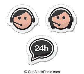 iconerne, sæt, tjeneste, etiketter, kunde