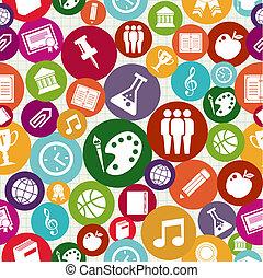 iconerne, seamless, tilbage, pattern., skole, undervisning