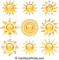 iconerne, sol, gul, isoleret, samling, blanke, white.
