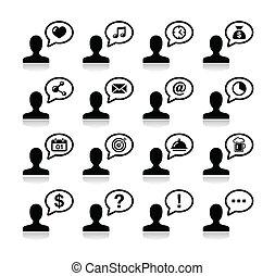 iconerne, sort, kommunikation, sæt, bruger