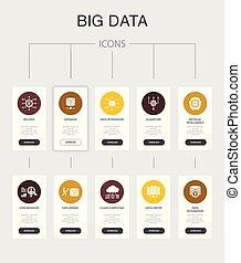 iconerne, ui, kunstige, database, opførsel, foranstaltninger, data, 10, infographic, enkel, centrum, stor, bruger, intelligens, design.