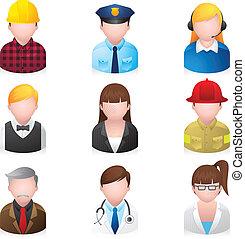 iconerne, væv, folk, professionel, 2, -