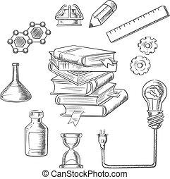 iconerne, væv, indsigten, skitse, undervisning
