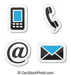 iconerne, væv internet, sæt, kontakt