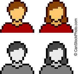 iconerne, vektor, avatar, kvindelig, mandlig, pixel