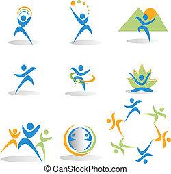 iconerne, yoga, natur, sociale, sundhed