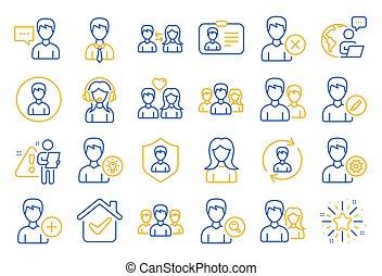 icons., vektor, brugere, mandlig, kvindelig, profiles., beklæde