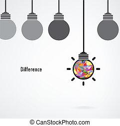 ide, concept., vektor, baggrund, tegn, pære, kreative, lys branche, forskel, undervisning, illustration