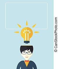 idea., forretningsmand, klar, har