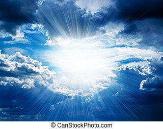 igennem, bryder, stråler, skyer, solskin
