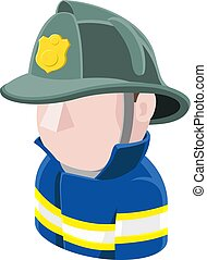 ikon, avatar, brandmand, folk