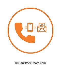 ikon, email, hidkalde, kontakt os, understøttelse