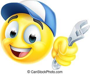 ikon, emoticon, emoji, eller, blikkenslager, skruenøgl, mekaniker