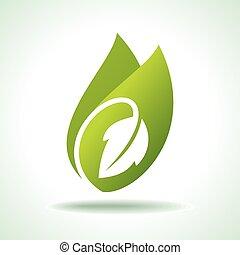 ikon, frisk, grønnes blad