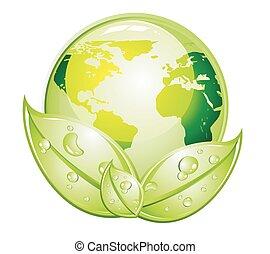 ikon, grønne, verden, blanke