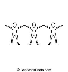 ikon, hænder oppe, figur, folk