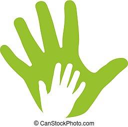ikon, hænder, voksen, familie, barnet