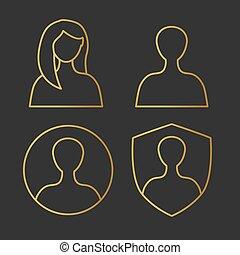 ikon, kvindelig, illustration, -, vektor, gylden, avatar