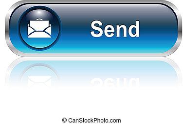 ikon, post, knap