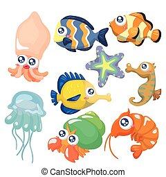 ikon, sæt, fish, samling, cartoon