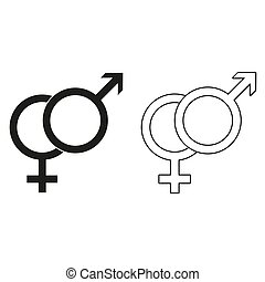 ikon, symboler, vektor, -, mandlig, grønne, kvindelig