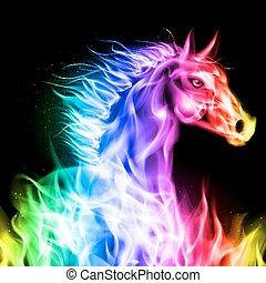 ild, horse., farverig