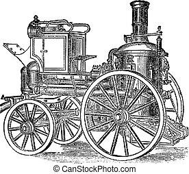 ild motor, gravering, vinhøst, damp