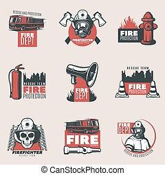 ild, vinhøst, beskyttelse, sæt, logos